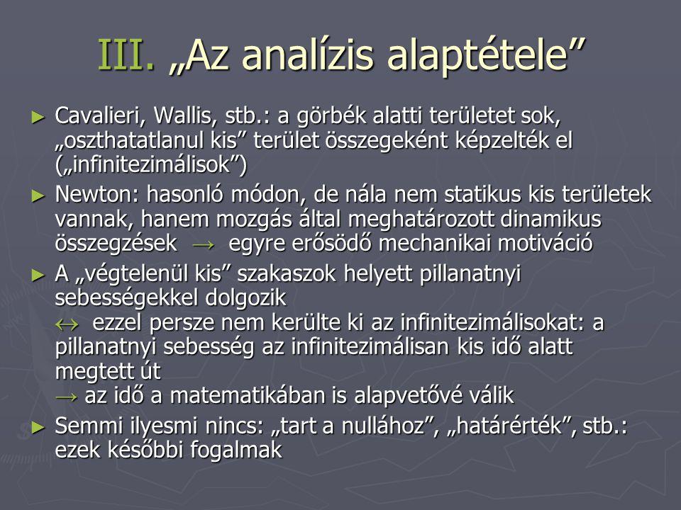 """III. """"Az analízis alaptétele"""" ► Cavalieri, Wallis, stb.: a görbék alatti területet sok, """"oszthatatlanul kis"""" terület összegeként képzelték el (""""infini"""
