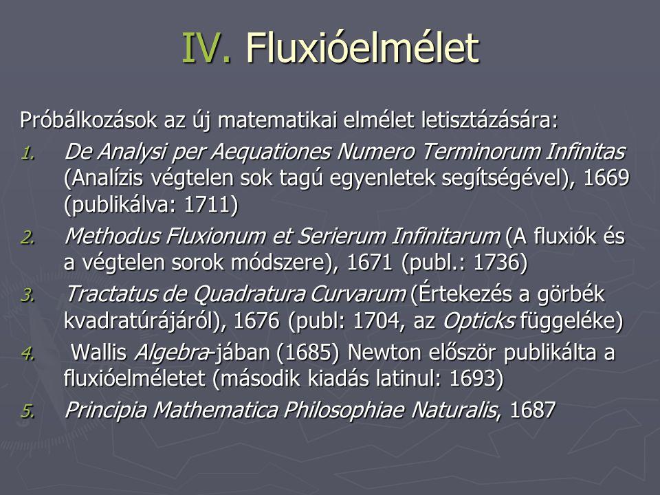 IV. Fluxióelmélet Próbálkozások az új matematikai elmélet letisztázására: 1. De Analysi per Aequationes Numero Terminorum Infinitas (Analízis végtelen