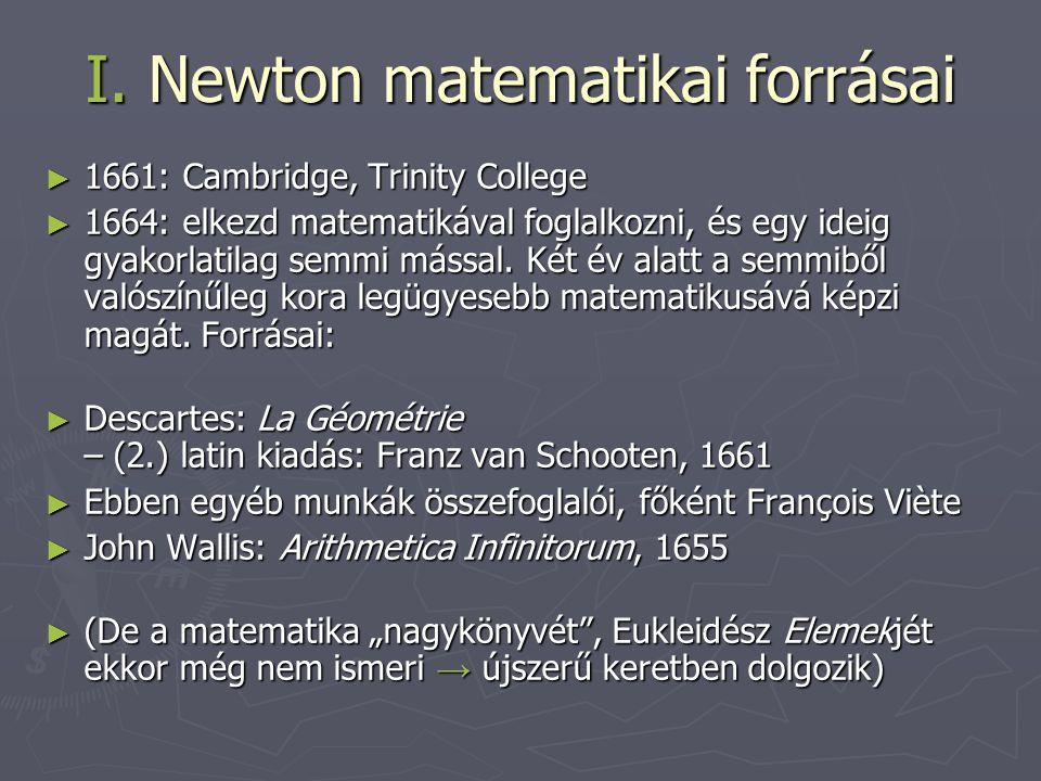 I. Newton matematikai forrásai ► 1661: Cambridge, Trinity College ► 1664: elkezd matematikával foglalkozni, és egy ideig gyakorlatilag semmi mással. K
