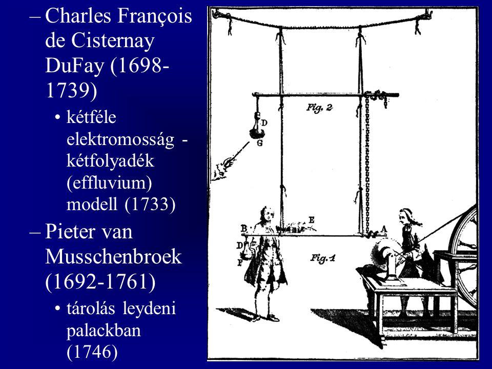 –Charles François de Cisternay DuFay (1698- 1739) kétféle elektromosság - kétfolyadék (effluvium) modell (1733) –Pieter van Musschenbroek (1692-1761) tárolás leydeni palackban (1746)