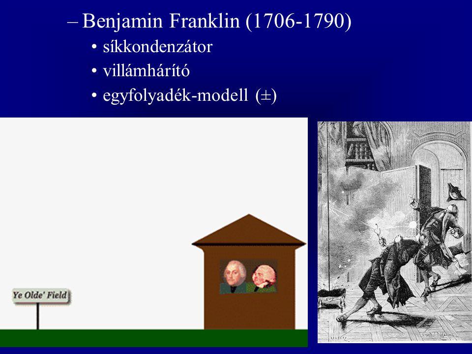 –Benjamin Franklin (1706-1790) síkkondenzátor villámhárító egyfolyadék-modell (±)