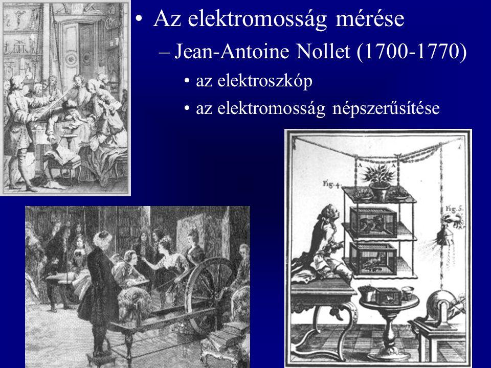 Az elektromosság mérése –Jean-Antoine Nollet (1700-1770) az elektroszkóp az elektromosság népszerűsítése