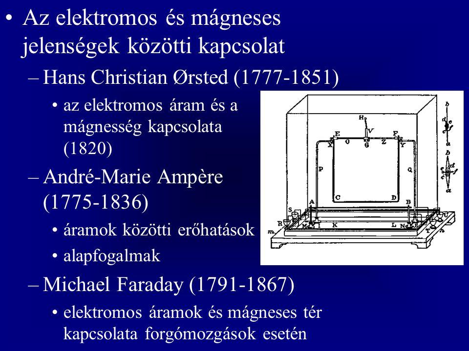 Az elektromos és mágneses jelenségek közötti kapcsolat –Hans Christian Ørsted (1777-1851) az elektromos áram és a mágnesség kapcsolata (1820) –André-Marie Ampère (1775-1836) áramok közötti erőhatások alapfogalmak –Michael Faraday (1791-1867) elektromos áramok és mágneses tér kapcsolata forgómozgások esetén
