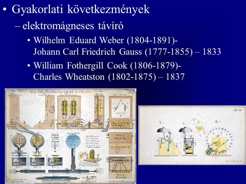 Gyakorlati következmények –elektromágneses távíró Wilhelm Eduard Weber (1804-1891)- Johann Carl Friedrich Gauss (1777-1855) – 1833 William Fothergill Cook (1806-1879)- Charles Wheatston (1802-1875) – 1837