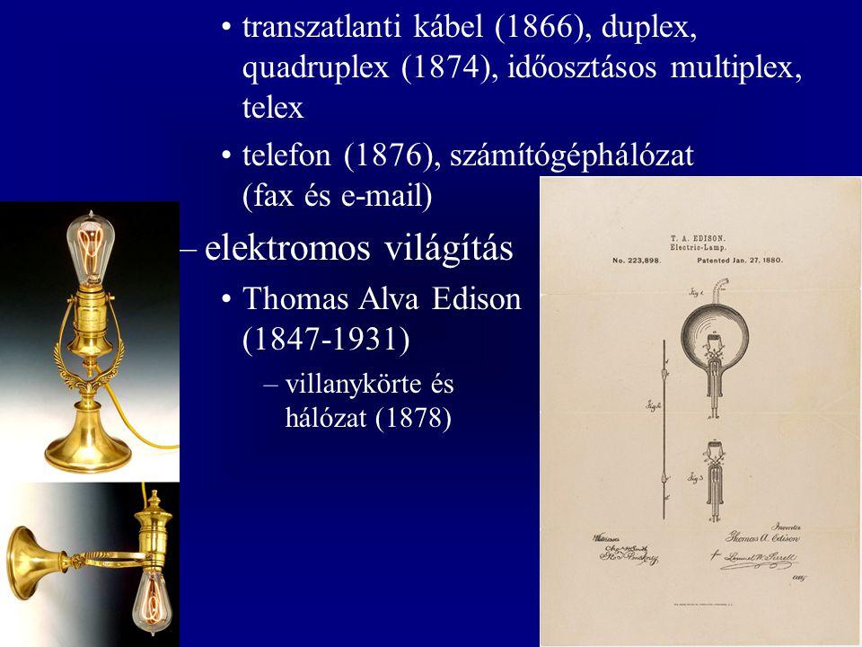 transzatlanti kábel (1866), duplex, quadruplex (1874), időosztásos multiplex, telex telefon (1876), számítógéphálózat (fax és e-mail) –elektromos világítás Thomas Alva Edison (1847-1931) –villanykörte és hálózat (1878)