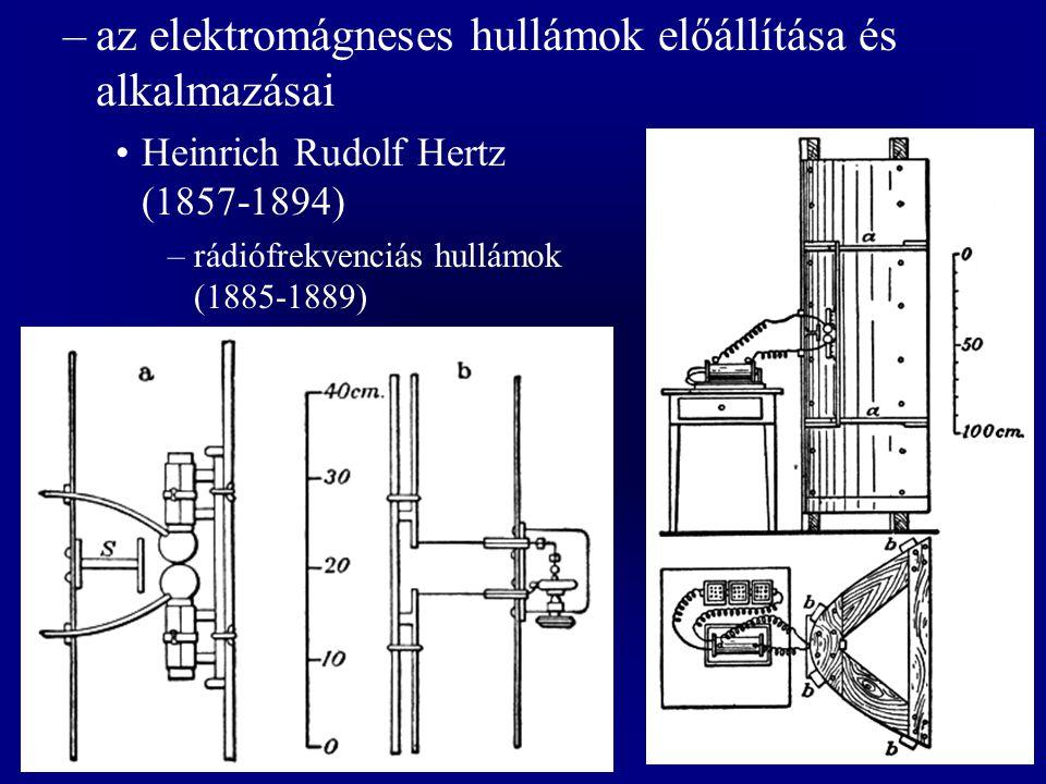 –az elektromágneses hullámok előállítása és alkalmazásai Heinrich Rudolf Hertz (1857-1894) –rádiófrekvenciás hullámok (1885-1889)