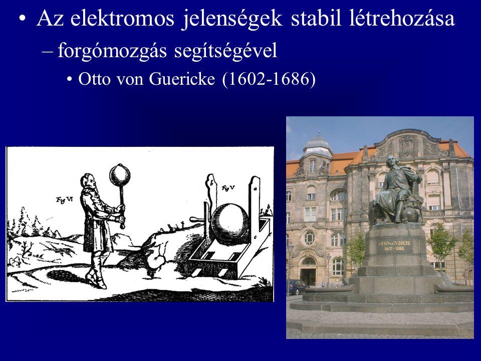 Az elektromos jelenségek stabil létrehozása –forgómozgás segítségével Otto von Guericke (1602-1686)