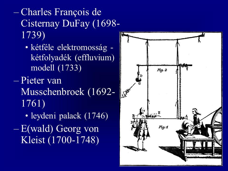 –Charles François de Cisternay DuFay (1698- 1739) kétféle elektromosság - kétfolyadék (effluvium) modell (1733) –Pieter van Musschenbroek (1692- 1761) leydeni palack (1746) –E(wald) Georg von Kleist (1700-1748)