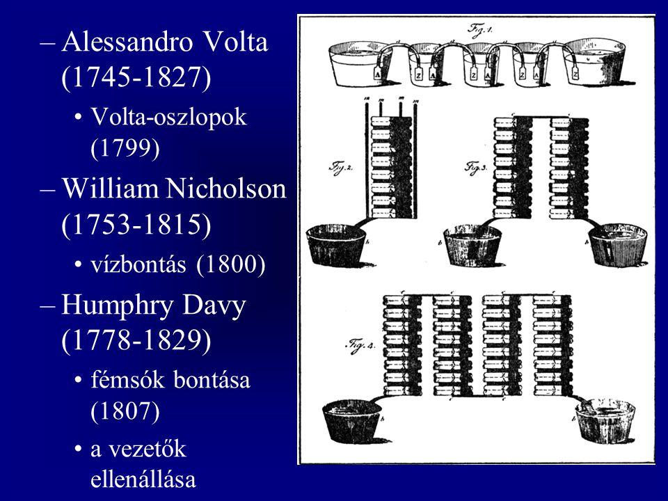 –Alessandro Volta (1745-1827) Volta-oszlopok (1799) –William Nicholson (1753-1815) vízbontás (1800) –Humphry Davy (1778-1829) fémsók bontása (1807) a vezetők ellenállása