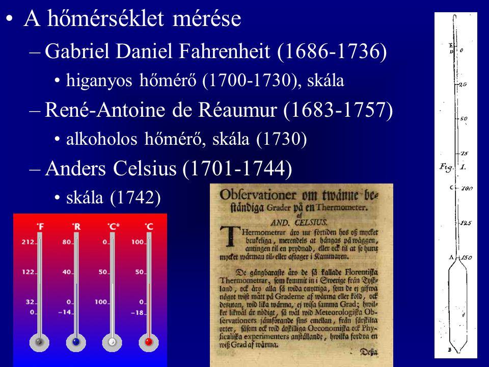 A hőmérséklet mérése –Gabriel Daniel Fahrenheit (1686-1736) higanyos hőmérő (1700-1730), skála –René-Antoine de Réaumur (1683-1757) alkoholos hőmérő, skála (1730) –Anders Celsius (1701-1744) skála (1742)