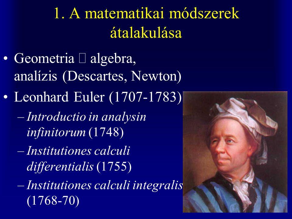 1. A matematikai módszerek átalakulása Geometria  algebra, analízis (Descartes, Newton) Leonhard Euler (1707-1783) –Introductio in analysin infinitor
