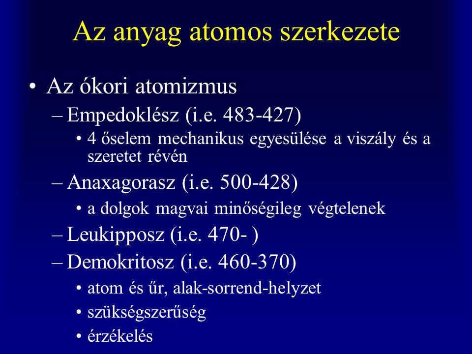 Az anyag atomos szerkezete Az ókori atomizmus –Empedoklész (i.e.