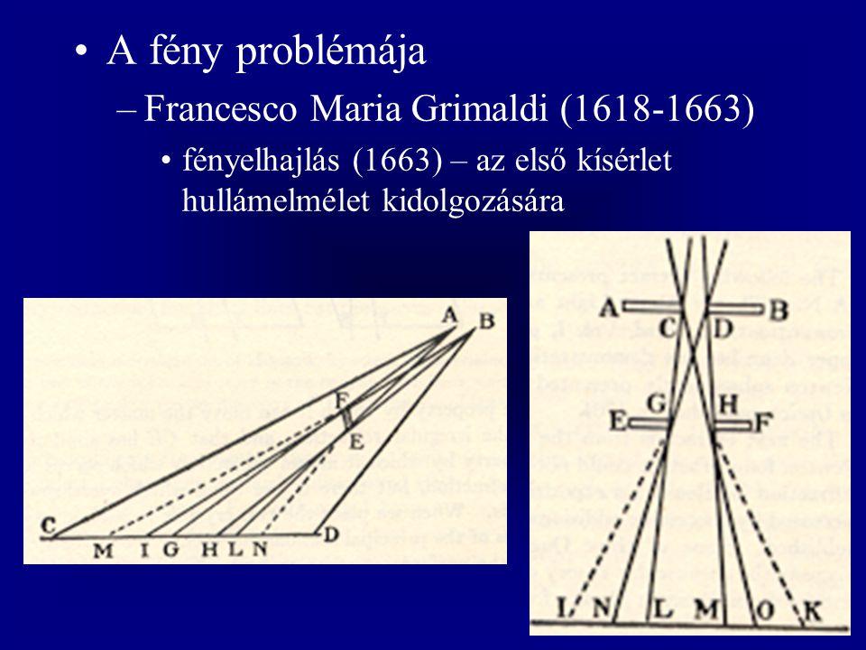 A fény problémája –Francesco Maria Grimaldi (1618-1663) fényelhajlás (1663) – az első kísérlet hullámelmélet kidolgozására