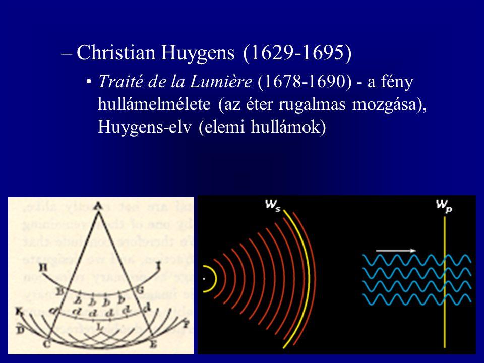 –Christian Huygens (1629-1695) Traité de la Lumière (1678-1690) - a fény hullámelmélete (az éter rugalmas mozgása), Huygens-elv (elemi hullámok)