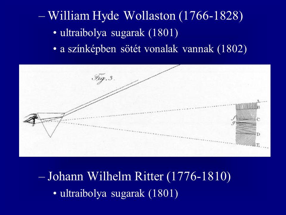 –William Hyde Wollaston (1766-1828) ultraibolya sugarak (1801) a színképben sötét vonalak vannak (1802) –Johann Wilhelm Ritter (1776-1810) ultraibolya sugarak (1801)