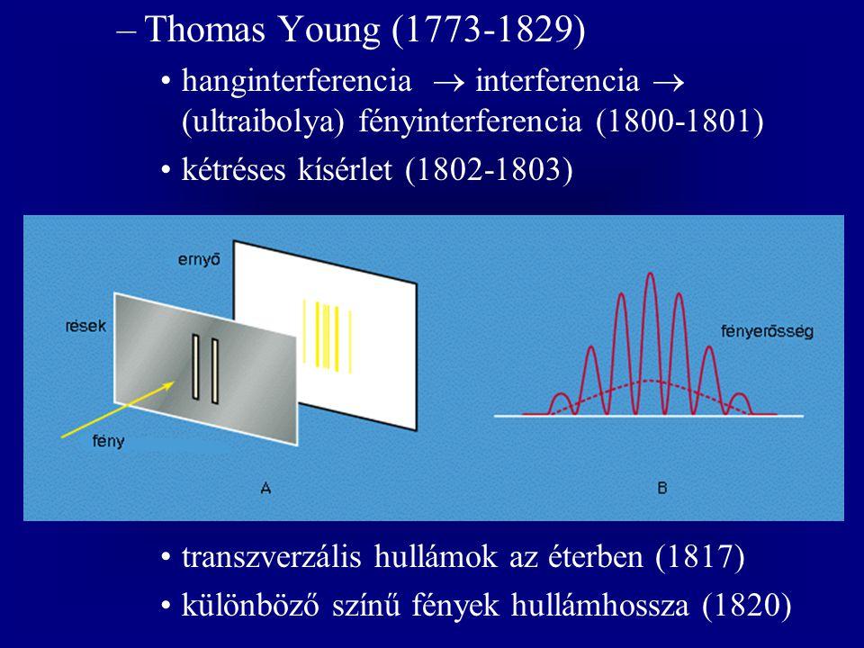 –Thomas Young (1773-1829) hanginterferencia  interferencia  (ultraibolya) fényinterferencia (1800-1801) kétréses kísérlet (1802-1803) transzverzális hullámok az éterben (1817) különböző színű fények hullámhossza (1820)