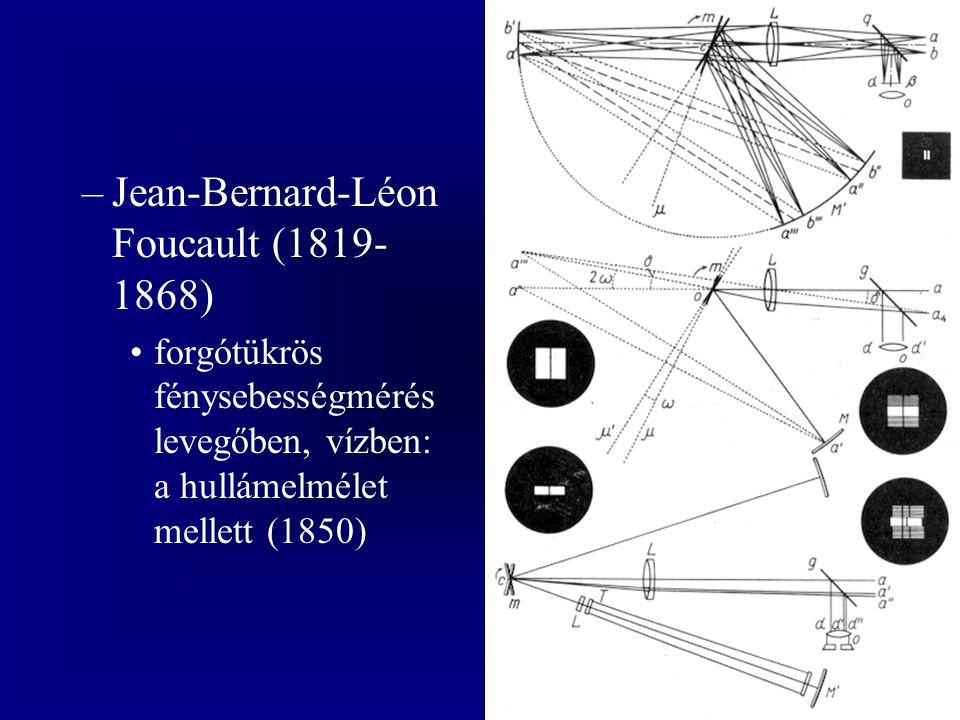 –Jean-Bernard-Léon Foucault (1819- 1868) forgótükrös fénysebességmérés levegőben, vízben: a hullámelmélet mellett (1850)