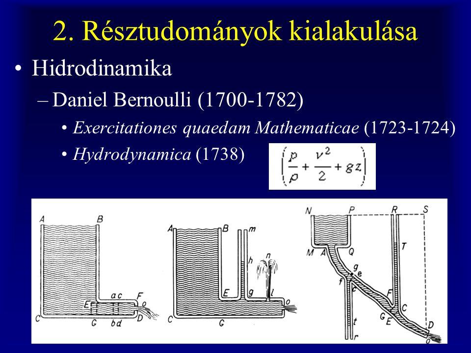 2. Résztudományok kialakulása Hidrodinamika –Daniel Bernoulli (1700-1782) Exercitationes quaedam Mathematicae (1723-1724) Hydrodynamica (1738)