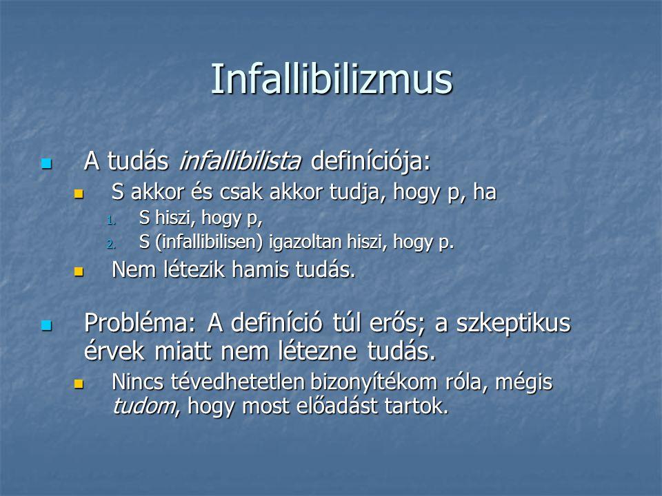 Infallibilizmus A tudás infallibilista definíciója: A tudás infallibilista definíciója: S akkor és csak akkor tudja, hogy p, ha S akkor és csak akkor