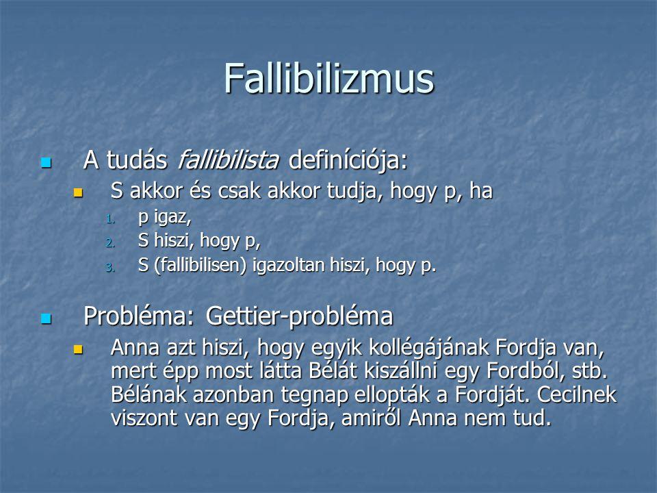 Fallibilizmus A tudás fallibilista definíciója: A tudás fallibilista definíciója: S akkor és csak akkor tudja, hogy p, ha S akkor és csak akkor tudja,