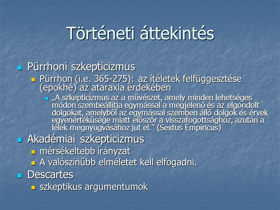 Történeti áttekintés Pürrhoni szkepticizmus Pürrhoni szkepticizmus Pürrhon (i.e. 365-275): az ítéletek felfüggesztése (epokhé) az ataraxia érdekében P