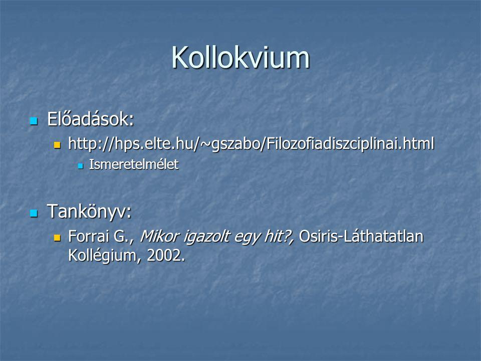 Kollokvium Előadások: Előadások: http://hps.elte.hu/~gszabo/Filozofiadiszciplinai.html http://hps.elte.hu/~gszabo/Filozofiadiszciplinai.html Ismeretel