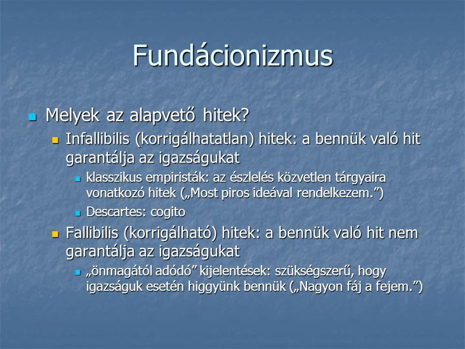 Fundácionizmus Melyek az alapvető hitek? Melyek az alapvető hitek? Infallibilis (korrigálhatatlan) hitek: a bennük való hit garantálja az igazságukat
