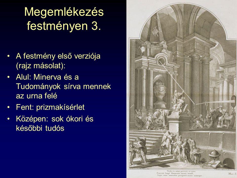 Megemlékezés festményen 3. A festmény első verziója (rajz másolat): Alul: Minerva és a Tudományok sírva mennek az urna felé Fent: prizmakísérlet Közép