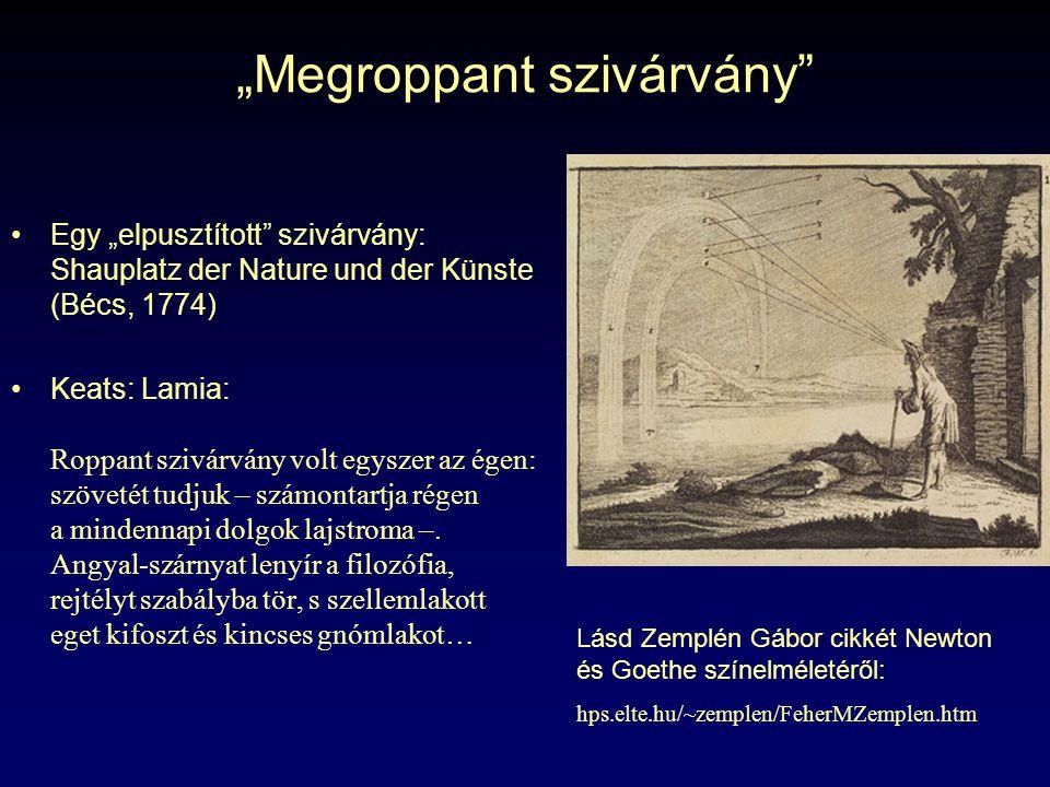 """""""Megroppant szivárvány Egy """"elpusztított szivárvány: Shauplatz der Nature und der Künste (Bécs, 1774) Keats: Lamia: Roppant szivárvány volt egyszer az égen: szövetét tudjuk – számontartja régen a mindennapi dolgok lajstroma –."""