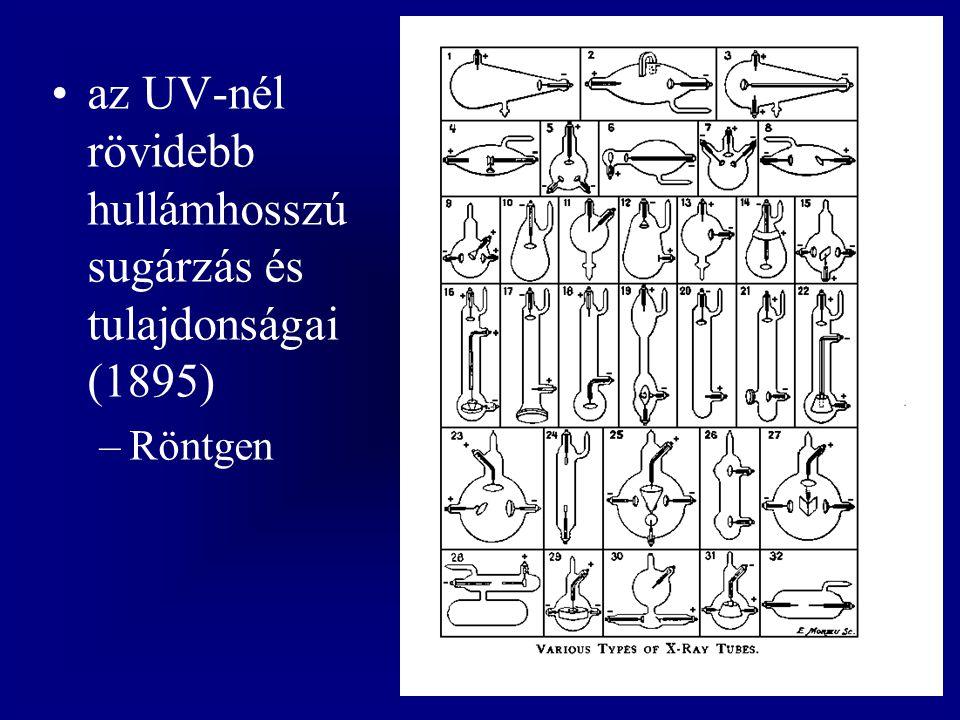 az UV-nél rövidebb hullámhosszú sugárzás és tulajdonságai (1895) –Röntgen