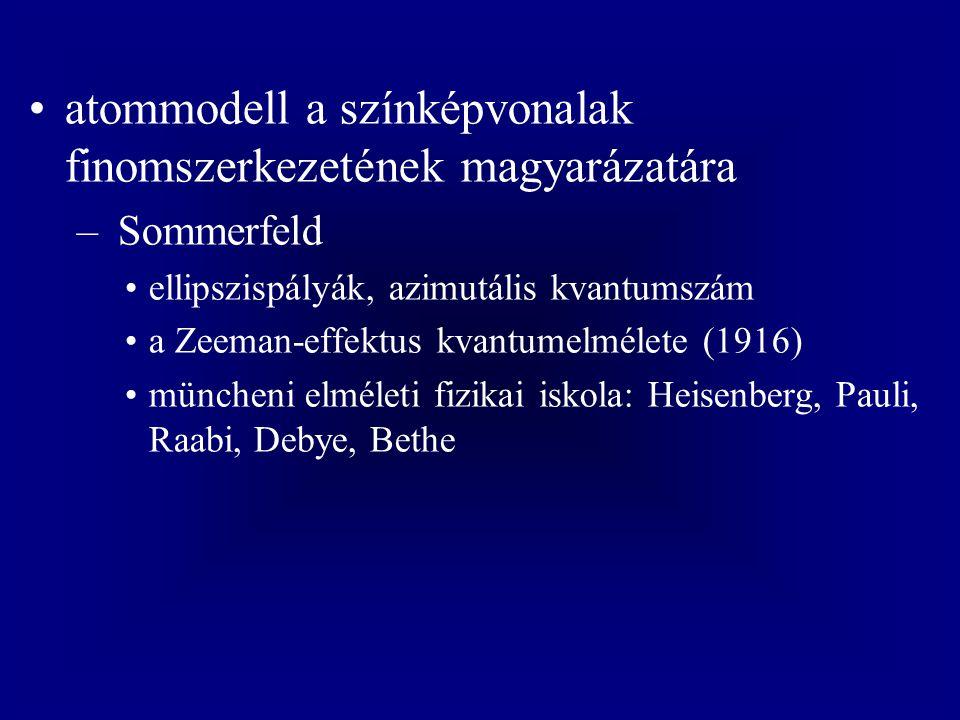 atommodell a színképvonalak finomszerkezetének magyarázatára – Sommerfeld ellipszispályák, azimutális kvantumszám a Zeeman-effektus kvantumelmélete (1