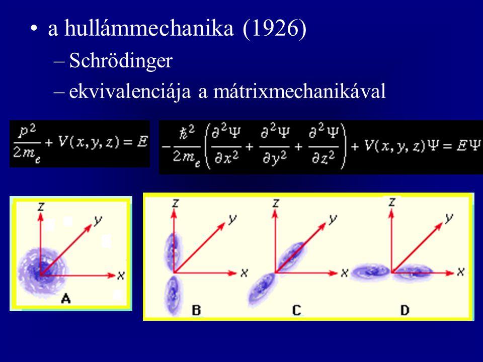 a hullámmechanika (1926) –Schrödinger –ekvivalenciája a mátrixmechanikával