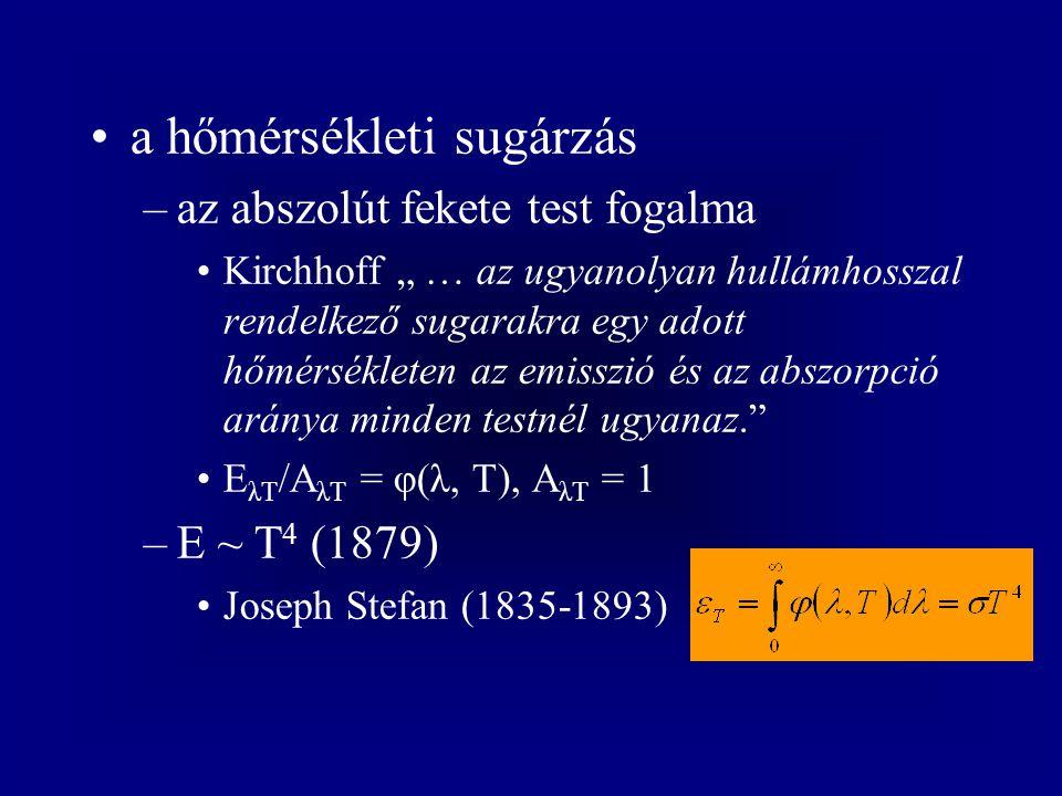 a fényelektromos hatás –Lenard Lenard-ablak (1893) elektronok okozzák (1899) a kilépő elektronok száma (az áram) arányos a fény intenzitásával (1900) a kilépő elektronok maximális kinetikus energiája a fémtől és a fény rezgésszámától (hullámhosszától) függ, egy minimumfrekvencia alatt nincs elektron (1902)