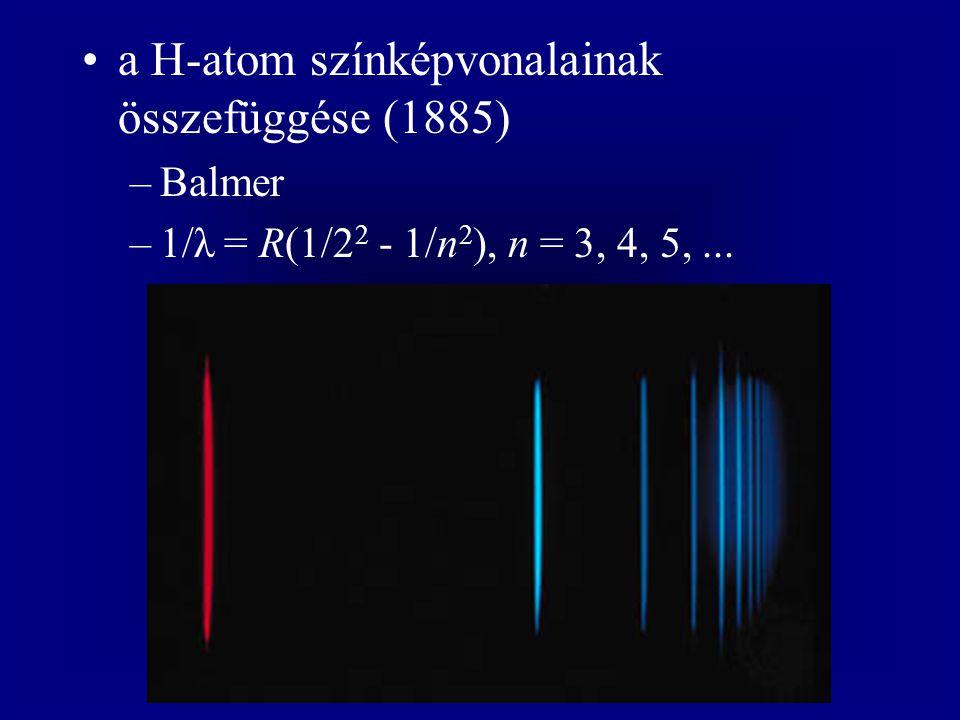 a H-atom színképvonalainak összefüggése (1885) –Balmer –1/λ = R(1/2 2 - 1/n 2 ), n = 3, 4, 5,...