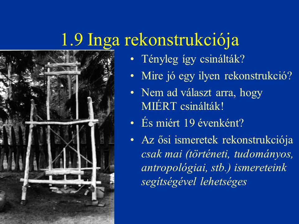 1.9 Inga rekonstrukciója Tényleg így csinálták? Mire jó egy ilyen rekonstrukció? Nem ad választ arra, hogy MIÉRT csinálták! És miért 19 évenként? Az ő