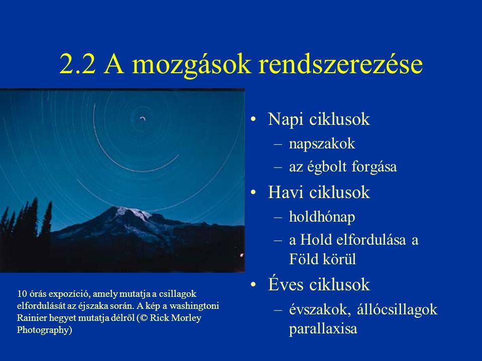 2.2 A mozgások rendszerezése Napi ciklusok –napszakok –az égbolt forgása Havi ciklusok –holdhónap –a Hold elfordulása a Föld körül Éves ciklusok –évsz