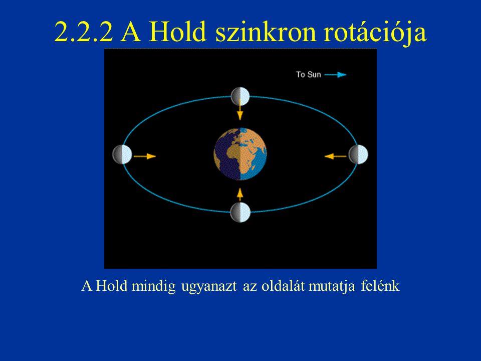 2.2.2 A Hold szinkron rotációja A Hold mindig ugyanazt az oldalát mutatja felénk