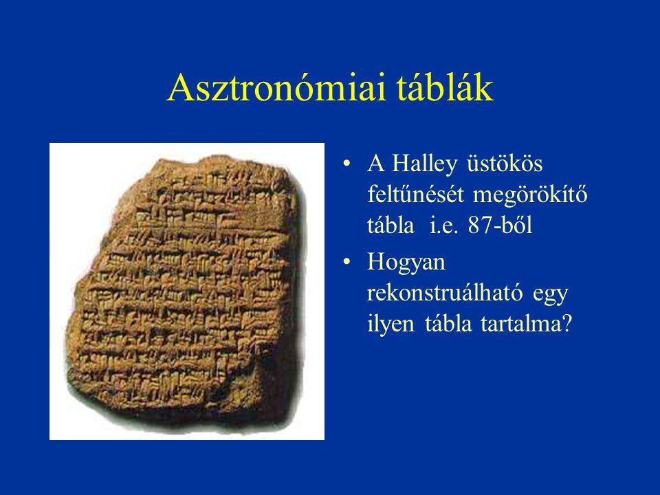 Asztronómiai táblák A Halley üstökös feltűnését megörökítő tábla i.e. 87-ből Hogyan rekonstruálható egy ilyen tábla tartalma?