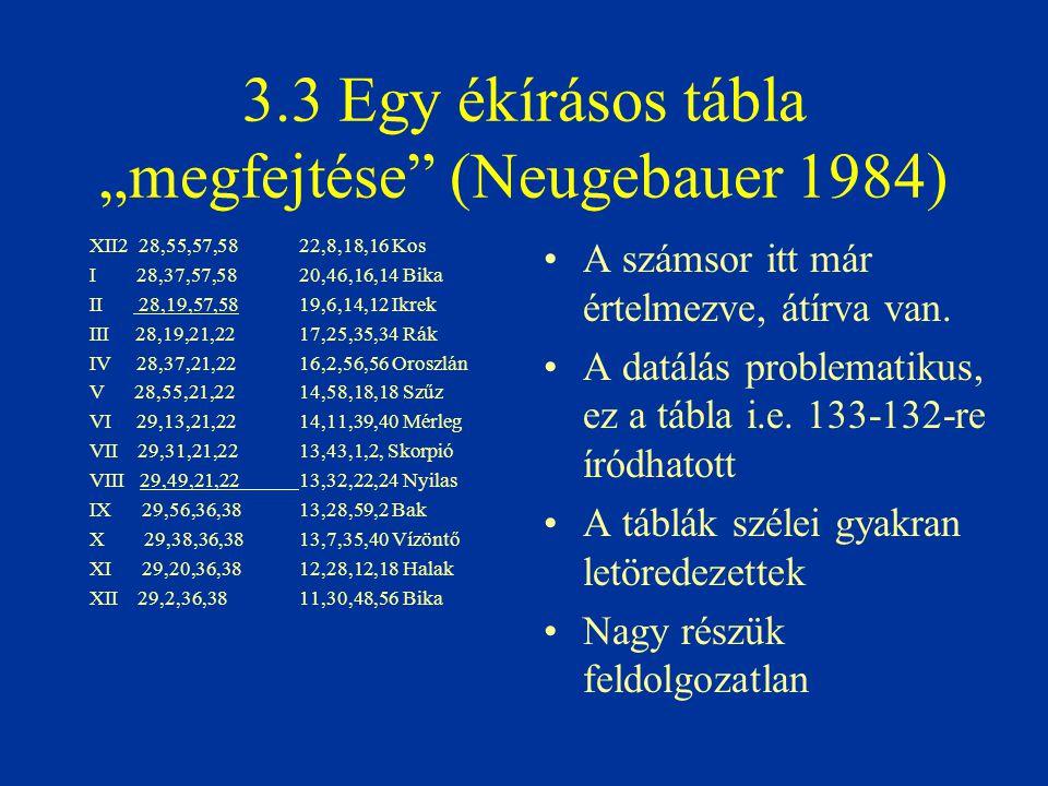 """3.3 Egy ékírásos tábla """"megfejtése"""" (Neugebauer 1984) A számsor itt már értelmezve, átírva van. A datálás problematikus, ez a tábla i.e. 133-132-re ír"""