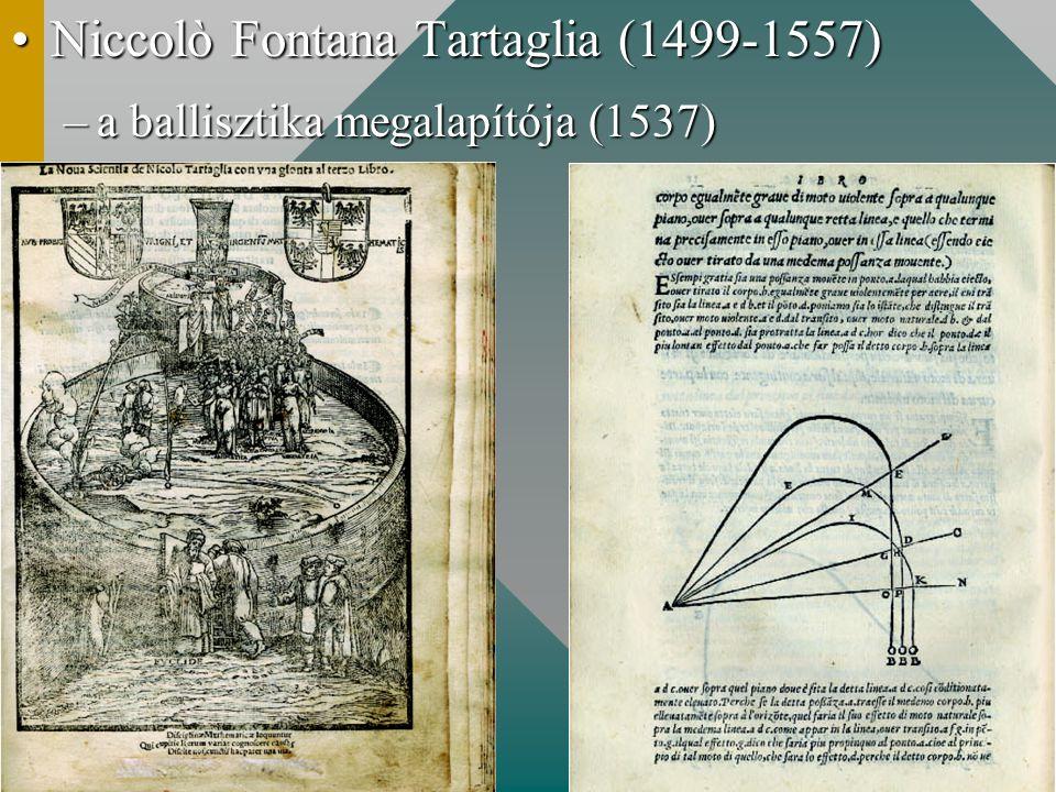 Niccolò Fontana Tartaglia (1499-1557)Niccolò Fontana Tartaglia (1499-1557) –a ballisztika megalapítója (1537)