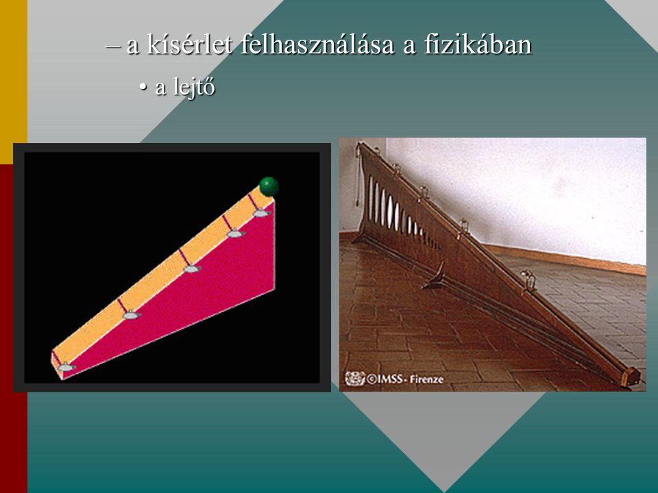 –a kísérlet felhasználása a fizikában a lejtőa lejtő
