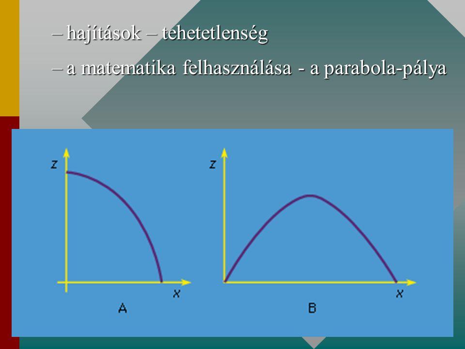 –hajítások – tehetetlenség –a matematika felhasználása - a parabola-pálya