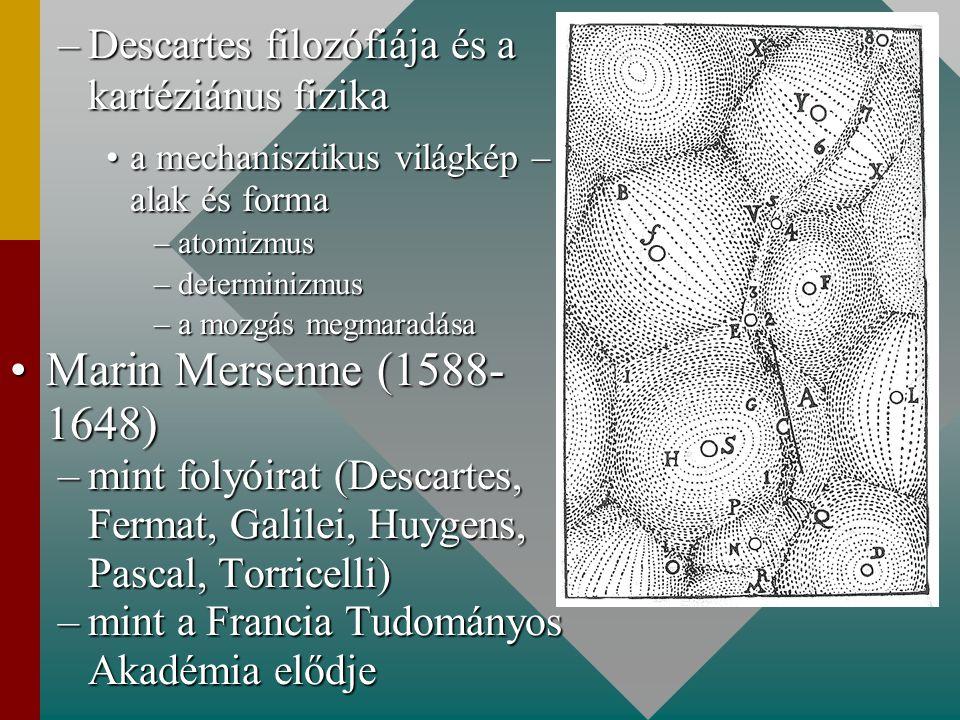 –Descartes filozófiája és a kartéziánus fizika a mechanisztikus világkép – alak és formaa mechanisztikus világkép – alak és forma –atomizmus –determin