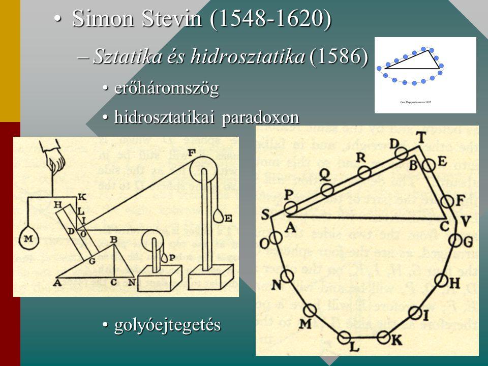 Simon Stevin (1548-1620)Simon Stevin (1548-1620) –Sztatika és hidrosztatika (1586) erőháromszögerőháromszög hidrosztatikai paradoxonhidrosztatikai par