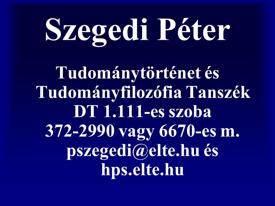 Szegedi Péter Tudománytörténet és Tudományfilozófia Tanszék DT 1.111-es szoba 372-2990 vagy 6670-es m. pszegedi@elte.hu és hps.elte.hu