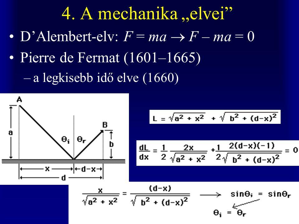 "4. A mechanika ""elvei"" D'Alembert-elv: F = ma  F – ma = 0 Pierre de Fermat (1601–1665) –a legkisebb idő elve (1660)"