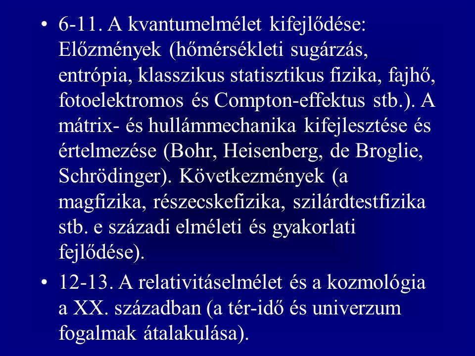 6-11. A kvantumelmélet kifejlődése: Előzmények (hőmérsékleti sugárzás, entrópia, klasszikus statisztikus fizika, fajhő, fotoelektromos és Compton-effe