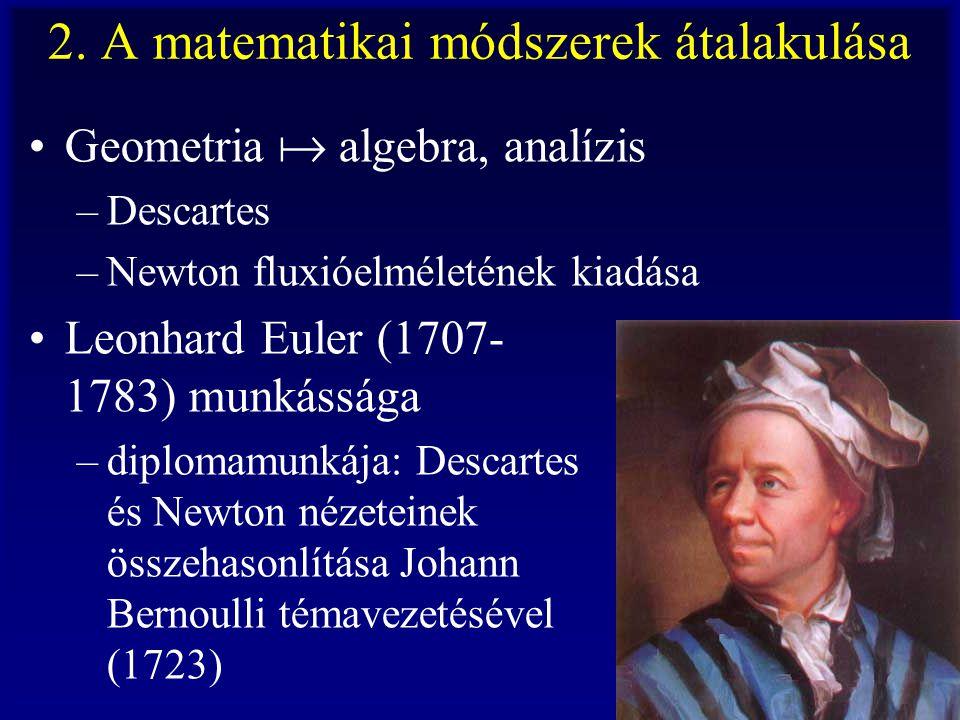 2. A matematikai módszerek átalakulása Geometria  algebra, analízis –Descartes –Newton fluxióelméletének kiadása Leonhard Euler (1707- 1783) munkássá