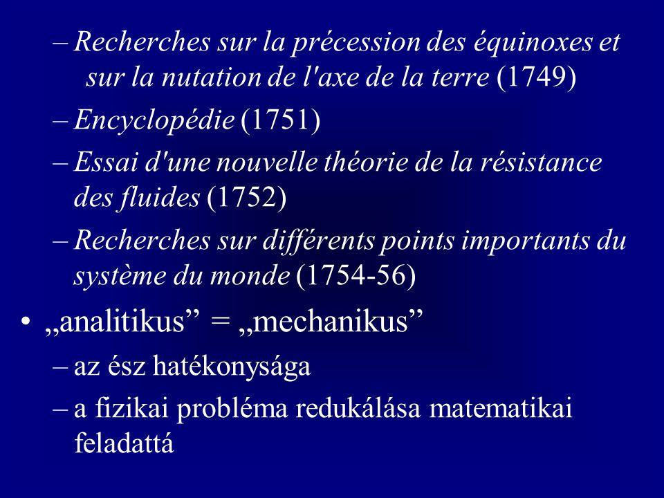 –Recherches sur la précession des équinoxes et sur la nutation de l'axe de la terre (1749) –Encyclopédie (1751) –Essai d'une nouvelle théorie de la ré