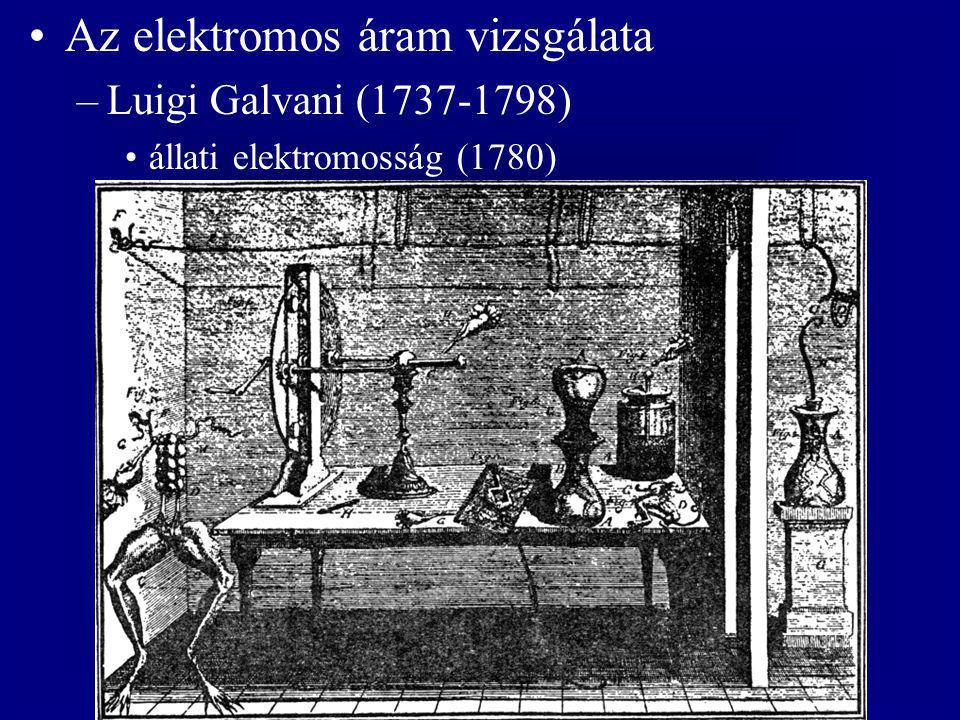 Az elektromos áram vizsgálata –Luigi Galvani (1737-1798) állati elektromosság (1780)